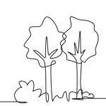 Dibujo trazo de dos árboles